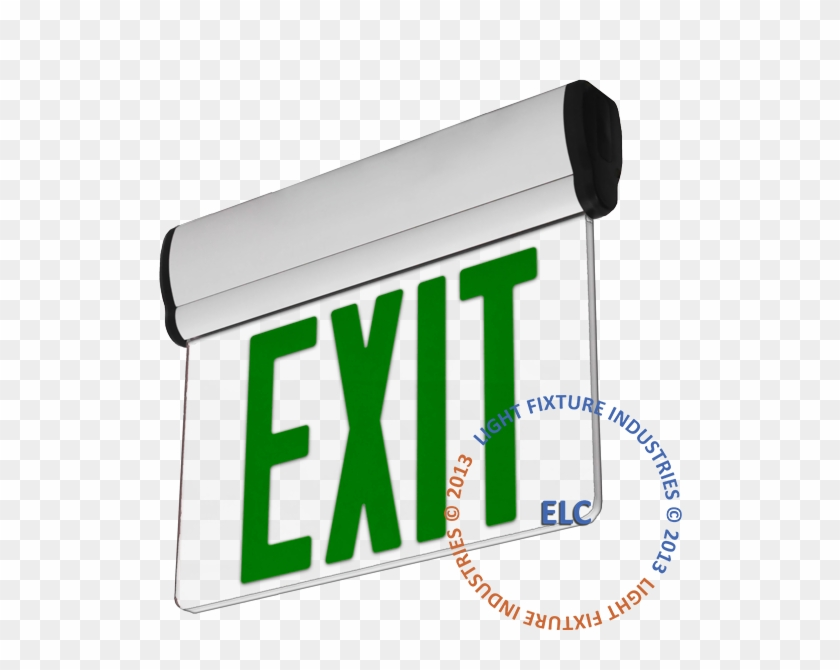 Edge Lit Exit Sign - Exit Sign, Ul Listed - Green Led - White - Battery #251940