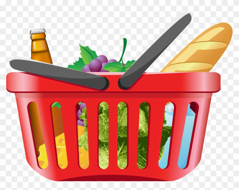 Shopping Cart Grocery Store Clip Art - Shopping Basket With Groceries #253408