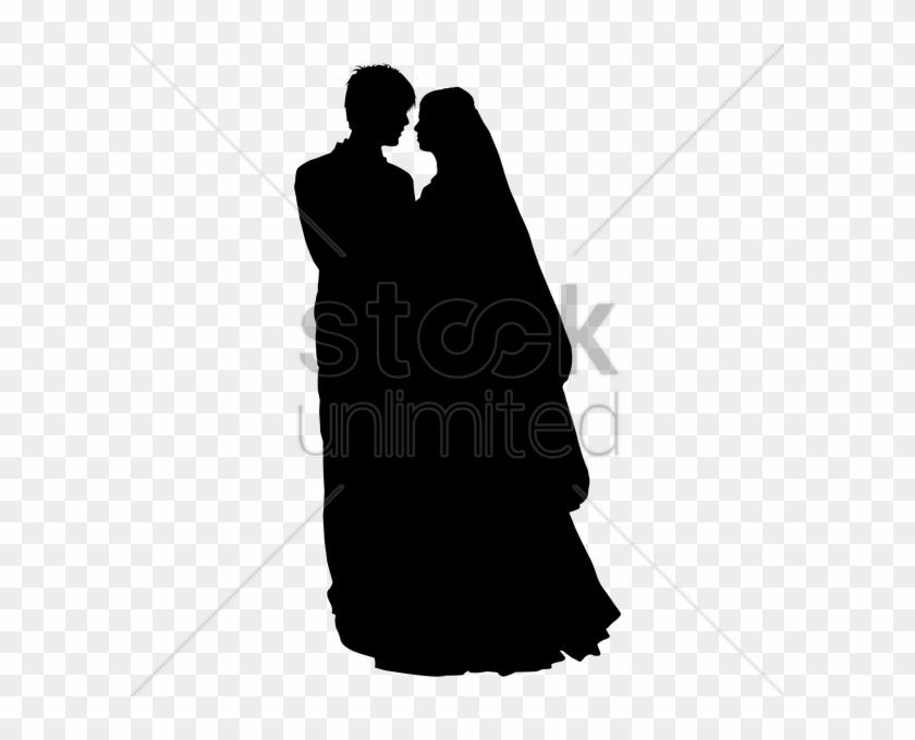 Wedding Coule Outline Clipart Wedding Silhouette Clip - Siluet Wedding Couple Muslim #1634144