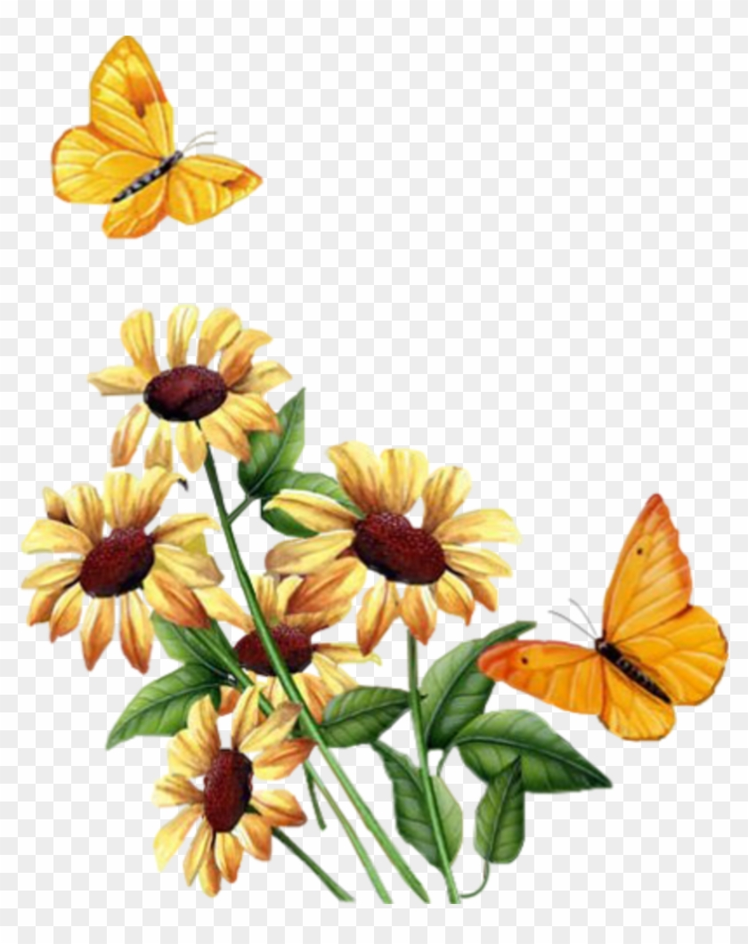 Tubes Fleurs - - Carolineblue - Animated Butterfly And Flower Gif #1643700