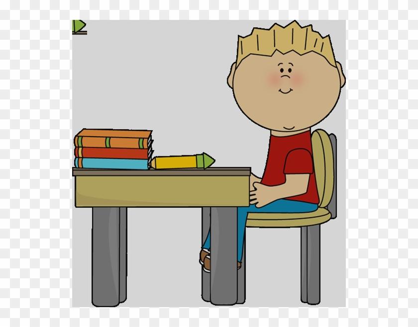 Little Boy At School Desk Clip Art Boy At Desk Clipart - Sitting In Chair Clipart #1644687