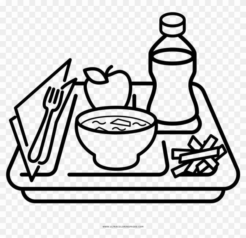 Coloring Pages Of Food Clipart Lunch Tray Black And White Free