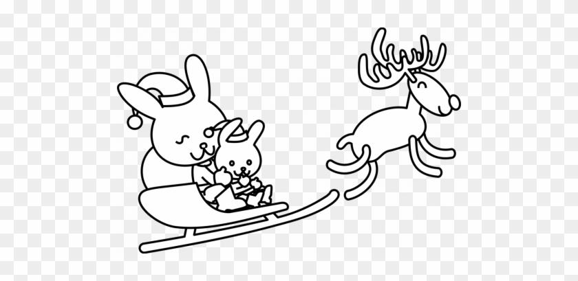 Santa Coloring Clip Art With Claus Christmas Colouring - Christmas Bunny Coloring Pages #1653423