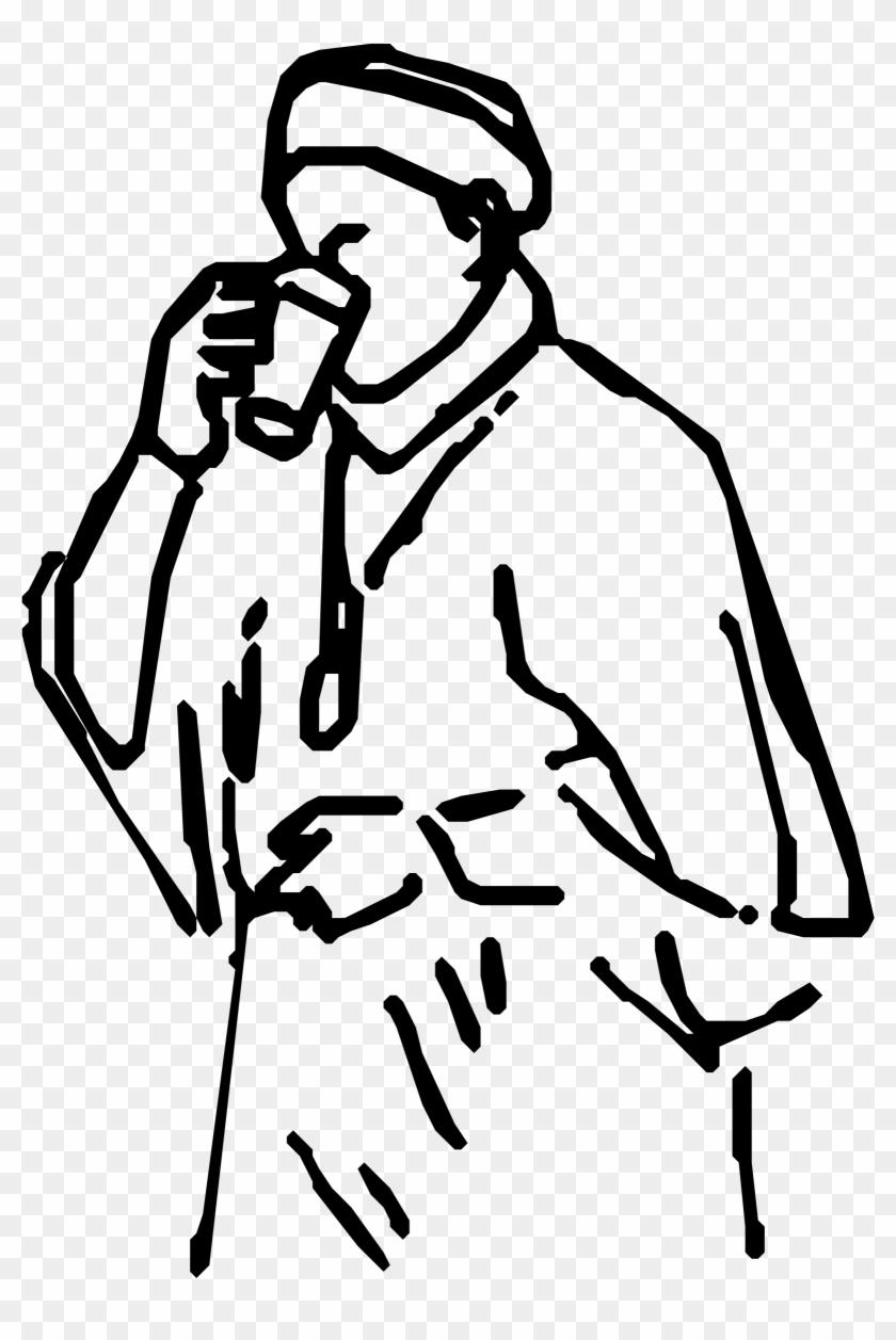 Big Image Gambar Sketsa Orang Minum Kopi Free