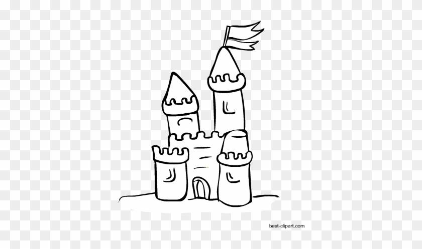 Black And White Sand Castle Clip Art Sandcastle Coloring
