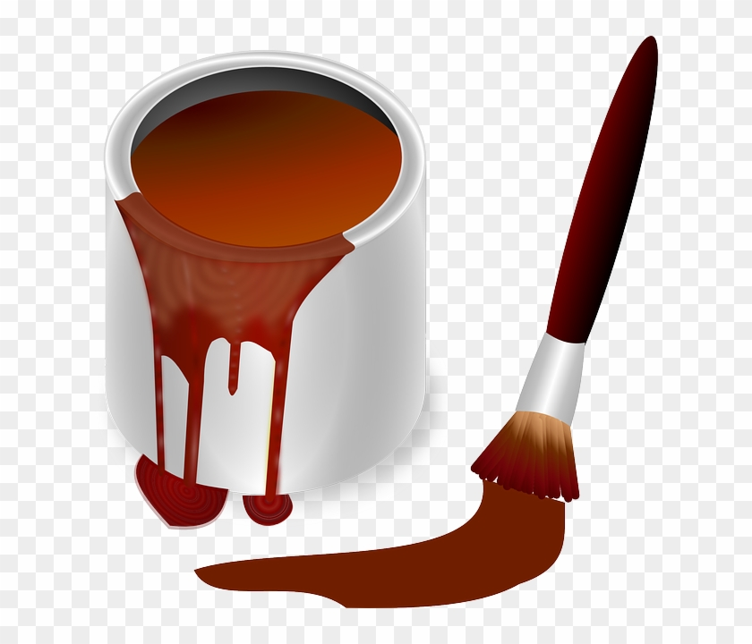 Pot, Color, Bucket, Painting, Paint Brush - Brown Paint With Brush ...