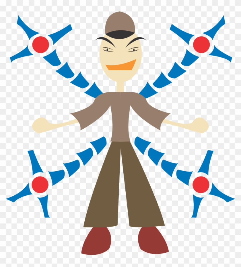 Free Vector Man With Mechanic Arms - Mann Im Roboter Stoffserviette #257167