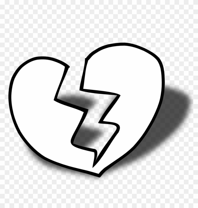 Double Heart Printable Coloring Pages With Free Black - Broken Heart Clipart Black And White #1659194