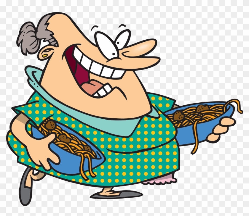 Well, You're Mother Wears Funny Clothes And She Smells - Old Italian Lady Cartoon #1663375