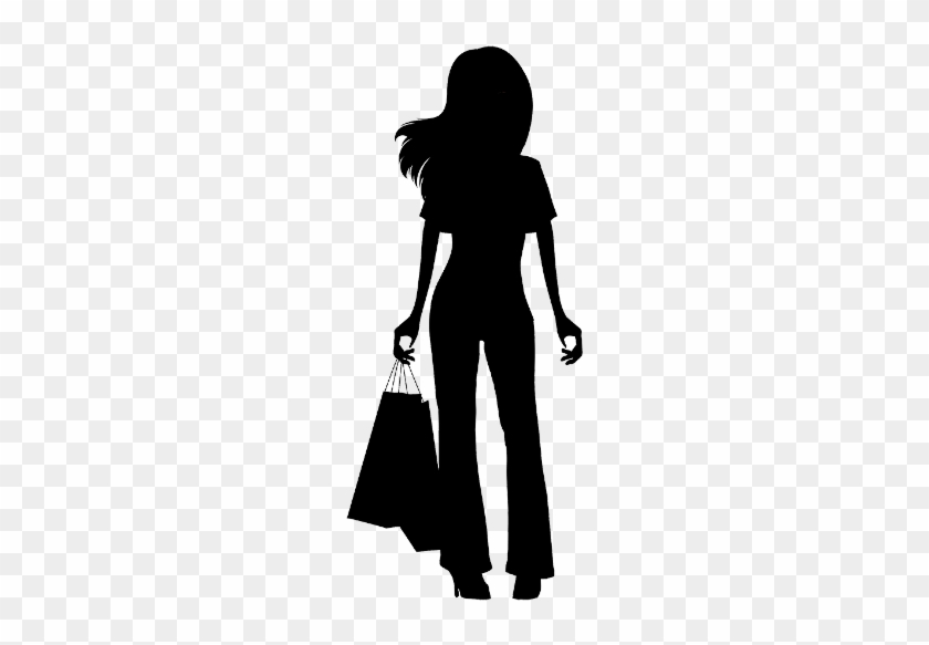 Silhouette Woman Shopping Bags Clipart - Girl Shopping Silhouette Png #1667137