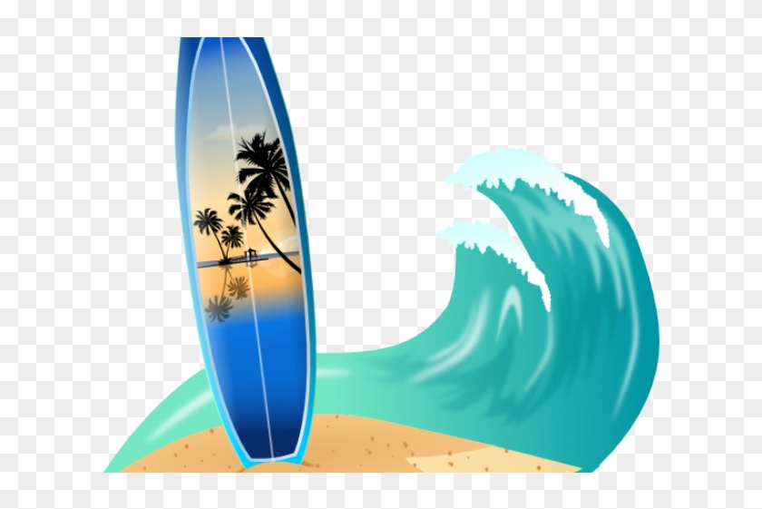 Drawn Wave Surfboard - Surfing Board Clipart #1674532