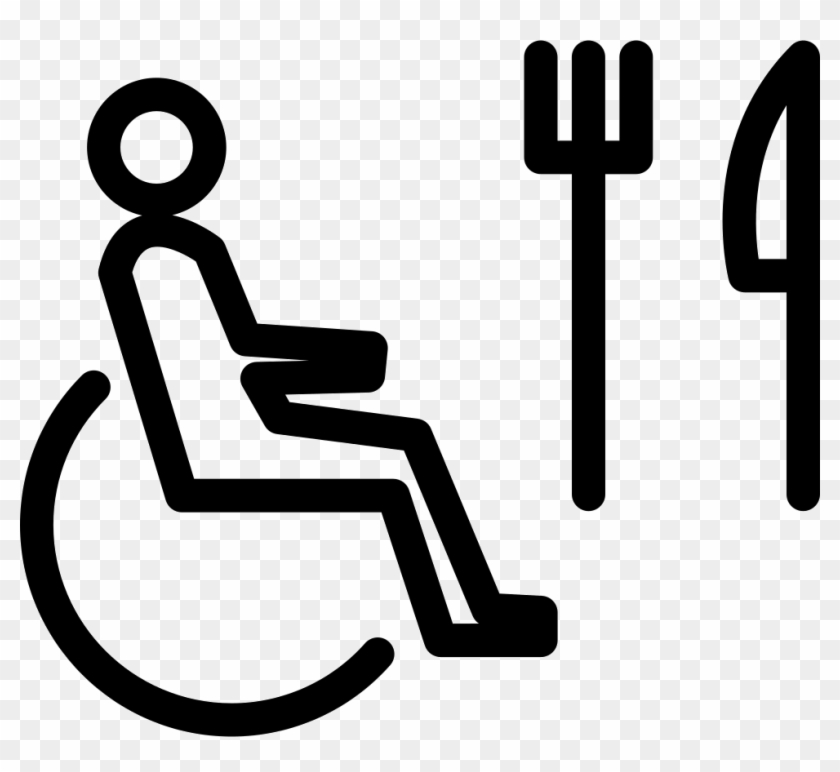 Person On Wheel Chair Outline With Fork And Knife Comments - Wheel Chair Icon Outline #1679561