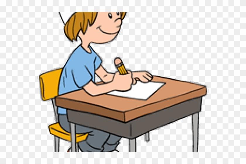 Art Clip Student Work At Desk - Working Boy Clipart #1679993
