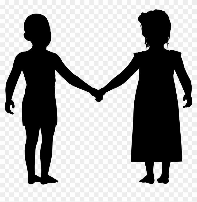 Boy And Girl Holding Hands Silhouette - Boy And Girl Holding Hands Silhouette #257312