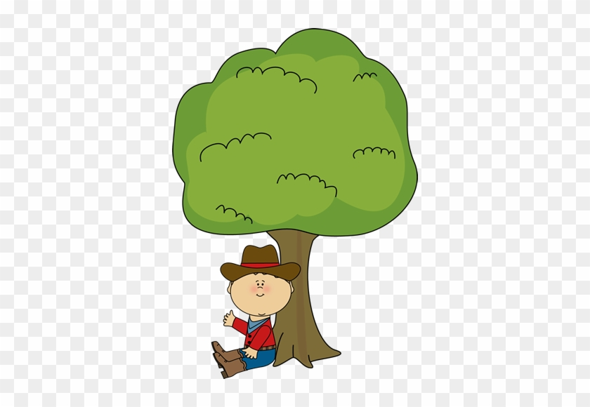 Cowboy Sitting Under A Tree - Boy Sitting Under Tree Clipart #257462
