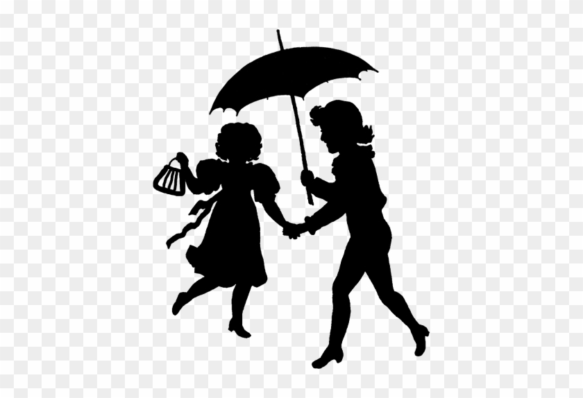 About My Design - Two Girls Under A Umbrella Silhouette #257501