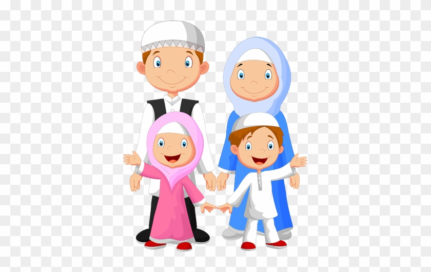 Family Islam - Muslim Family Cartoon #257582