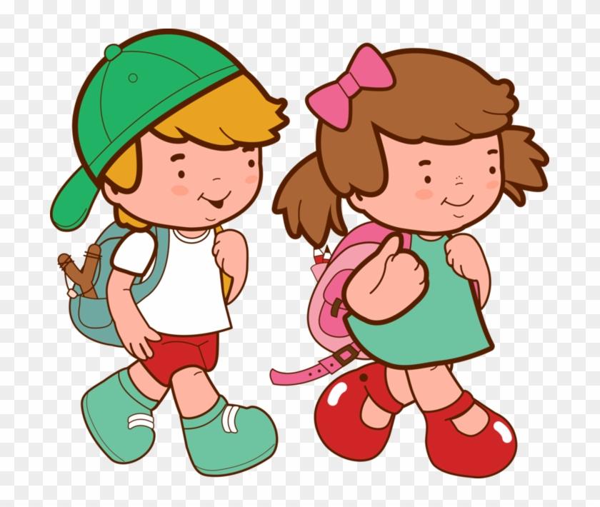 Imágenes De Niños Y Niñas En La Escuela - Kids Going To School Clipart Png #257824