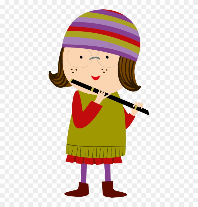 Personnages, Illustration, Individu, Personne, Gens - Girl Playing Flute Clipart Png #257969