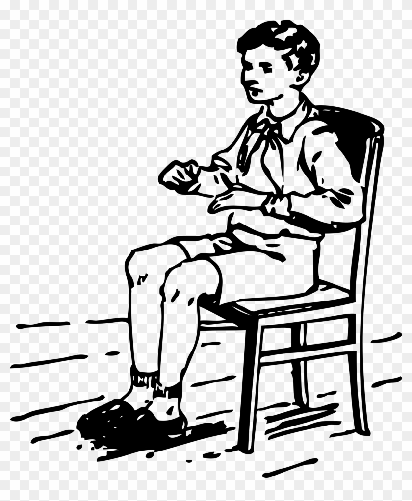 Boy Sitting In Chair - Sitting Clip Art Black And White #258135
