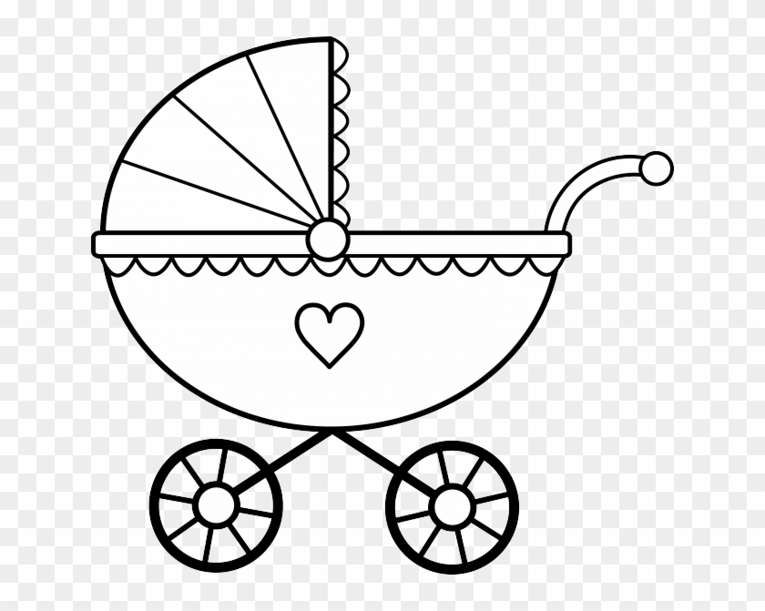 Baby Dinosaur Clipart Black And White - Baby Stroller Coloring Page #258206