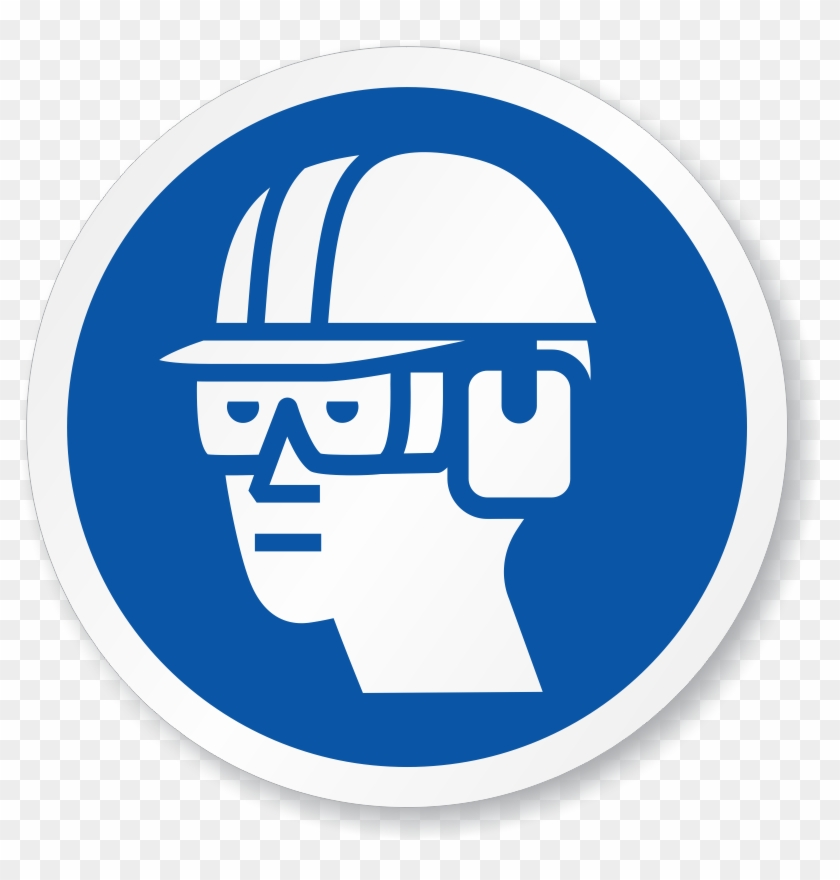 Wear Eye, Ear & Head Protection Symbol Iso Sign - Wear Eye Protection Signs #258465
