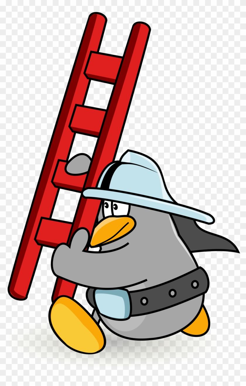 Open - Firefighter Cartoon Ladder #258497