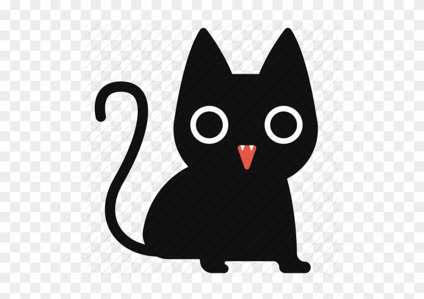 Black Cat Cartoon Cat Cute Halloween Horror Icon Cute Black