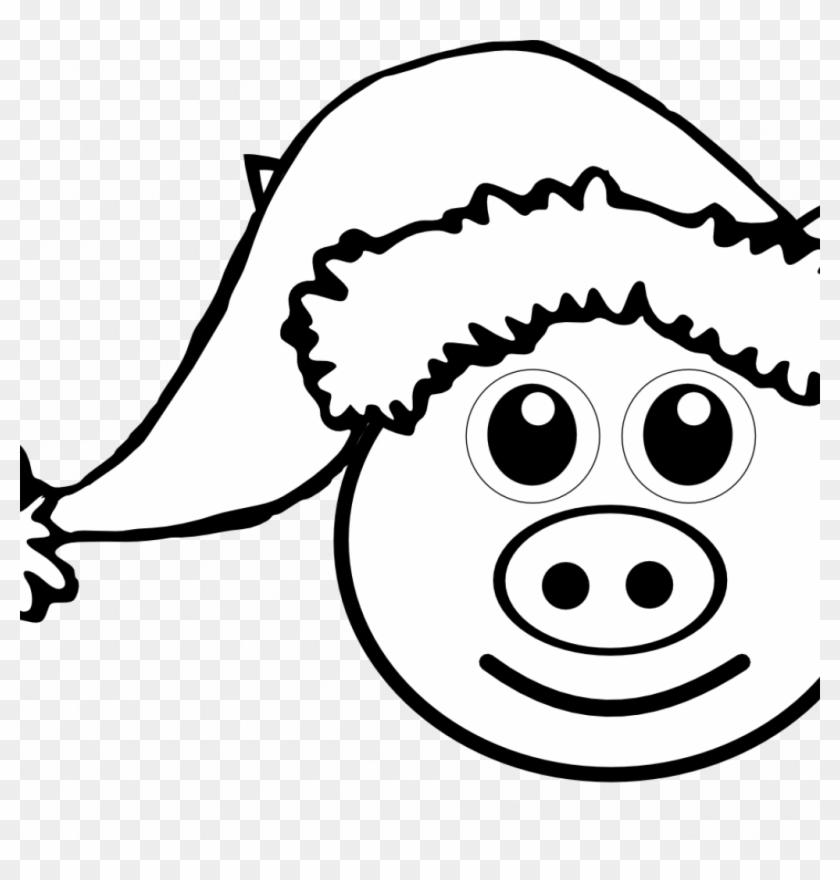 Pig Face Coloring Pages For Kids Peppa Games Teacup - Santa Hat Clipart #1684244