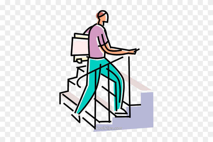 Man Climbing Stairs With File Folders Royalty Free Cartoon Person Walking Free Transparent Png Clipart Images Download