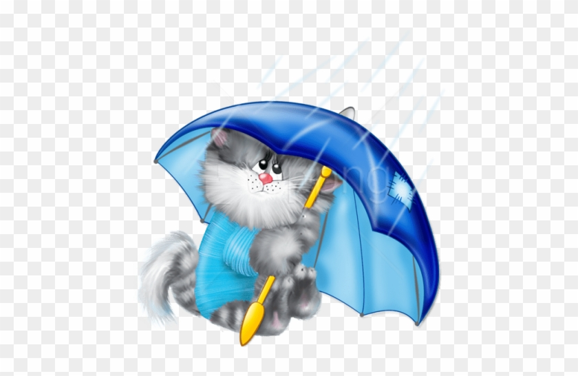 Free Png Download Cat With Umbrella Clipart Png Photo - Cats In Rain Clipart #1690439