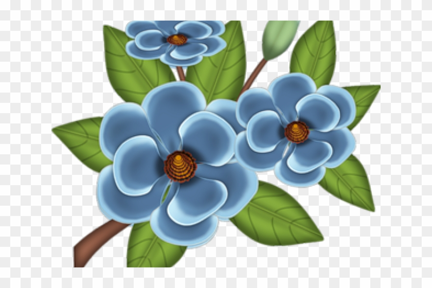 Blue Flower Clipart Album - Dibujos De Flores A Color #1694275