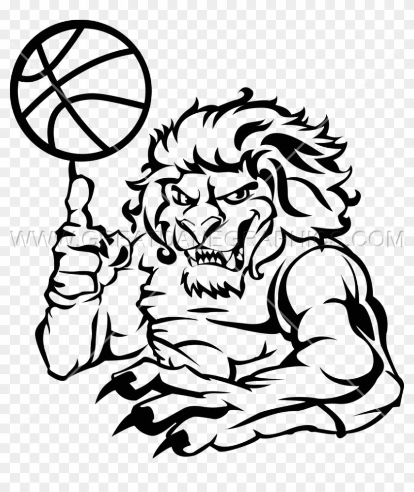Basketball Line Drawing At Getdrawings - Basketball Lion #1694679