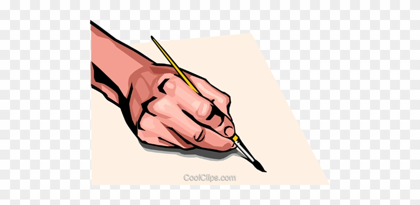Hand With Paint Brush Royalty Free Vector Clip Art - Brush In Hand Png #1695305