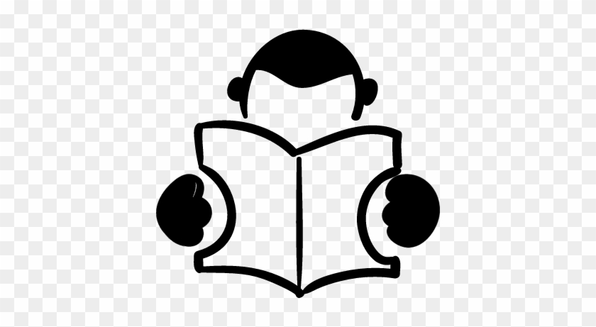 Student Reading A Book Hand Drawn Person &8902 Free - Book Reading Logo Png #1697063