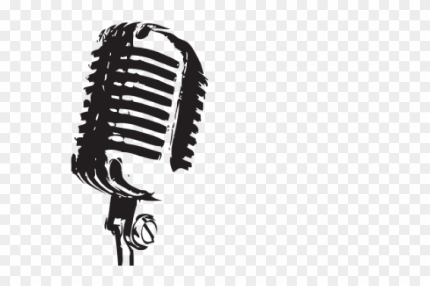 Retro or Vintage Microphone On a Stand - Vector Clip Art Picture