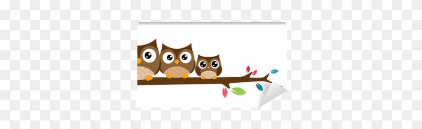 Owls Family Sat On A Tree Branch Wall Mural • Pixers® - Owl On A Branch Clipart #1698675