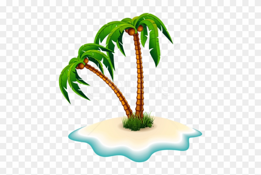 Free Png Download Palm Trees And Island Clipart Png - Clip Art Island With Palm Tree #1700292