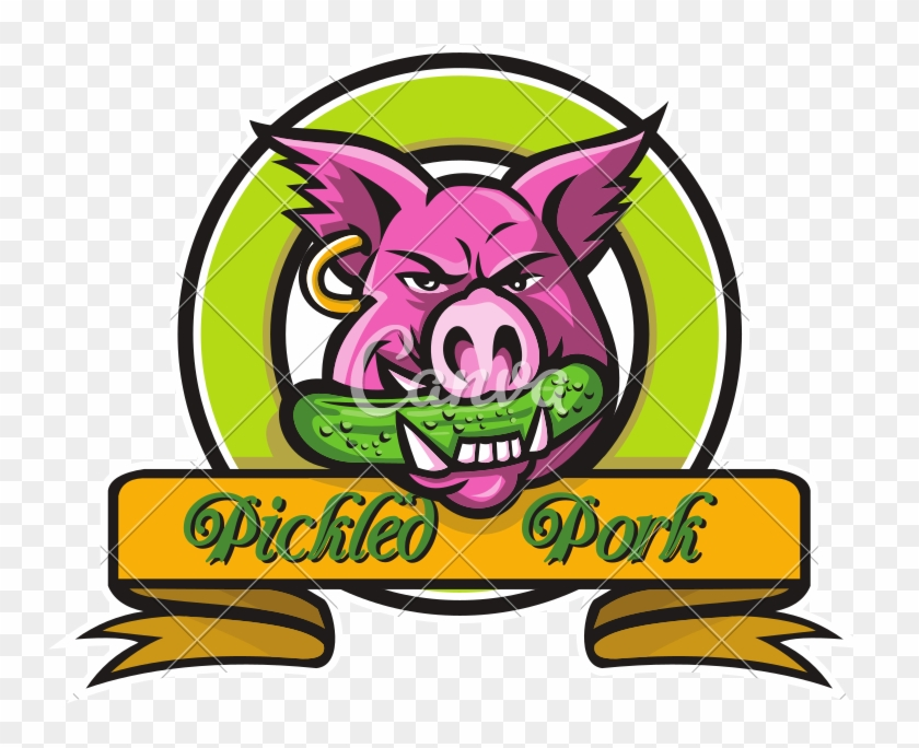 Wild Hog Biting Pickle Circle Mascot - Mascot Logo Pig #1700591