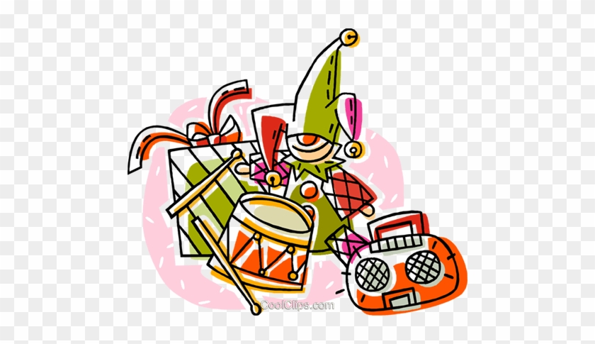 Elf With Presents, Drum And Toys Royalty Free Vector - Elf With Presents, Drum And Toys Royalty Free Vector #1704596