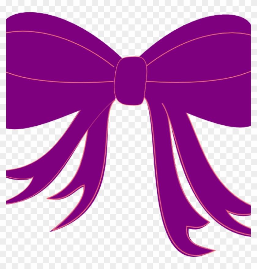 Purple Ribbon Clipart Purple Ribbon Clip Art At Clker - Pink Hair Bow Clipart #1706896