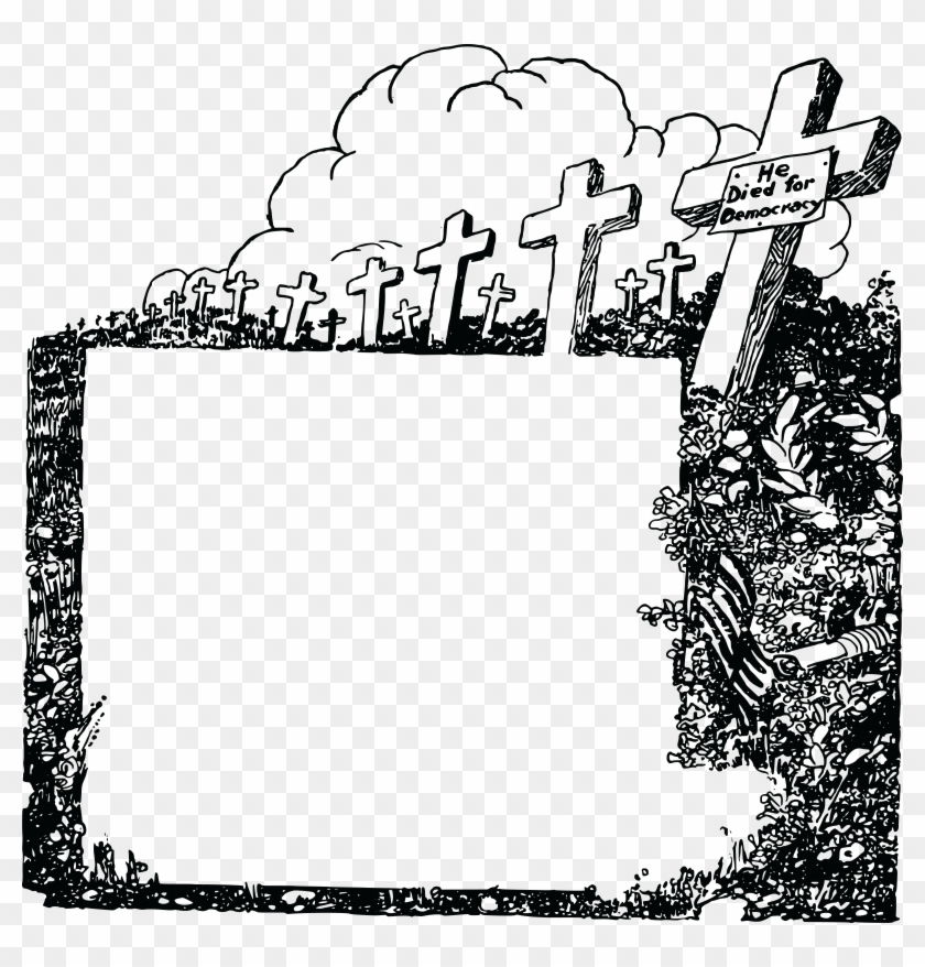 Free Clipart Of A Black And White Cemetery Of Soldiers - Soldier Png
