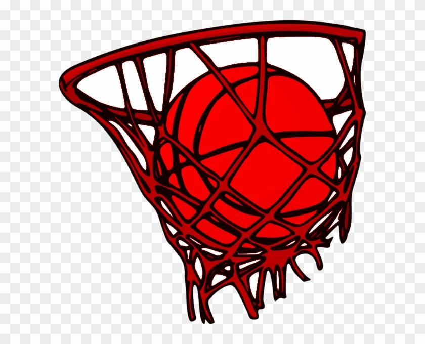 Basketball Inside Of Basketball Net - Basketball Vector #260894