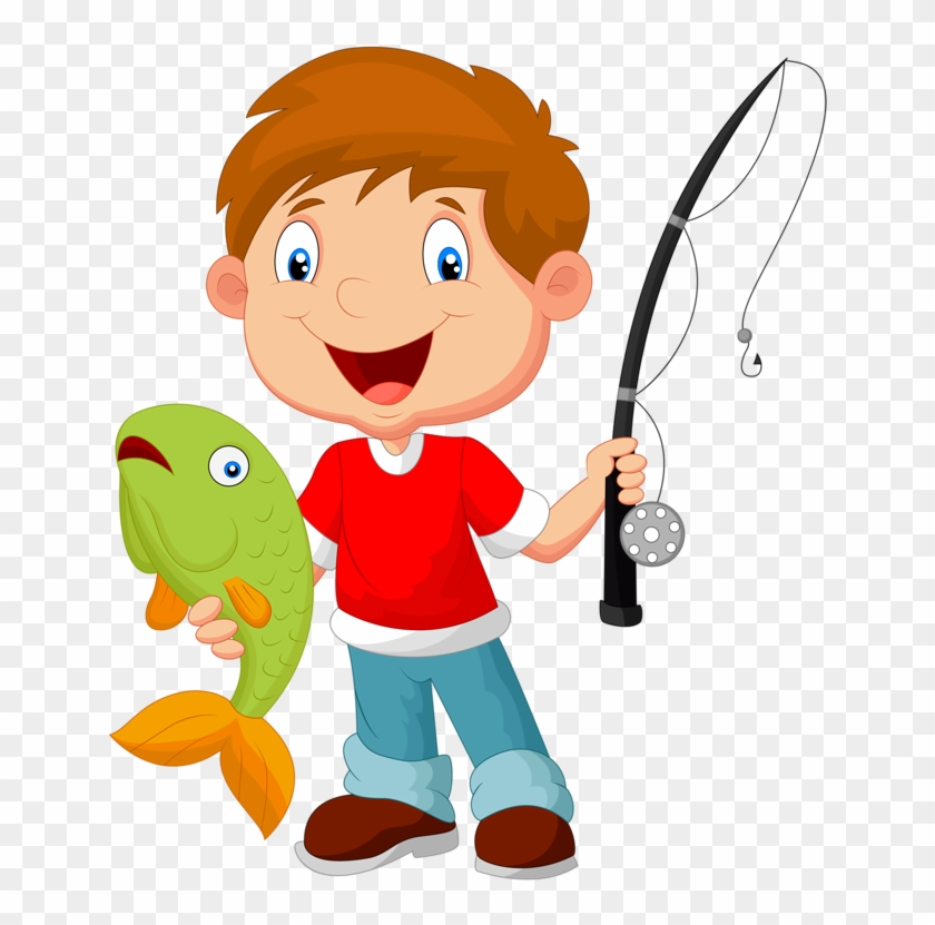 The Boy Sits On A Rock And Catches Fish In A Pond. Vector Illustration..  Royalty Free Cliparts, Vectors, And Stock Illustration. Image 85532061.