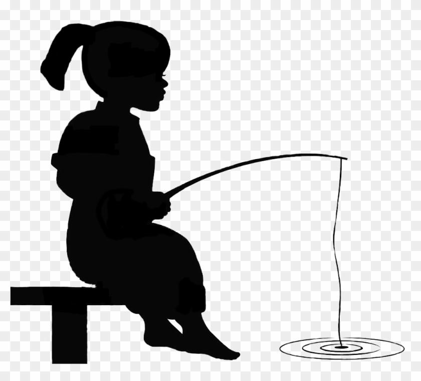 Girl Fishing Silhouette - Little Boy Fishing #260969