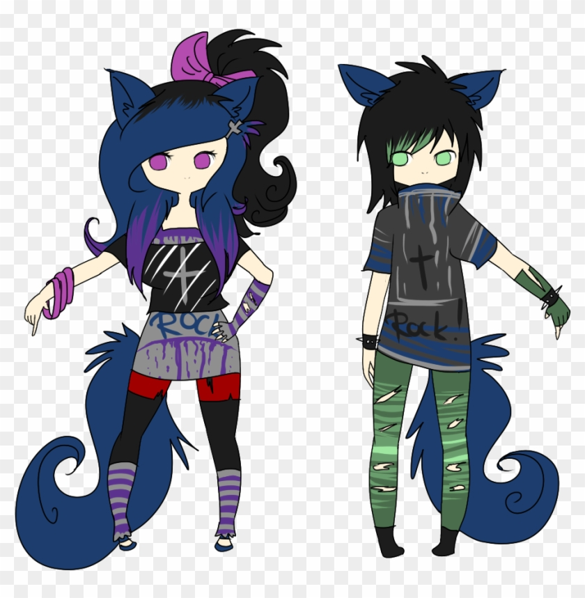 Closed Wolf Punk Girl And Boy ~ Draw To Adopt By Lunax3adoptables - Wolf Drawing Anime Girl #261033