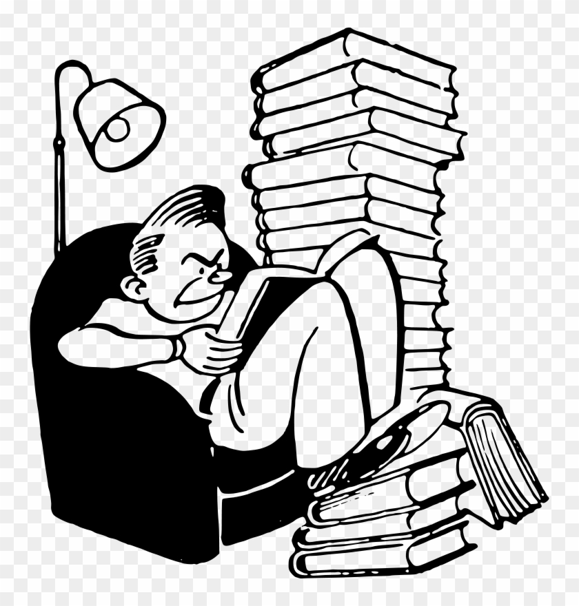 Reading Free Student With Books - Too Much Homework Clipart #261184