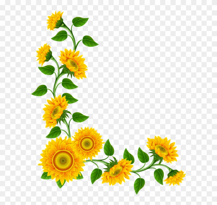 Corner Summer Cliparts - Sunflower Border Png #261211