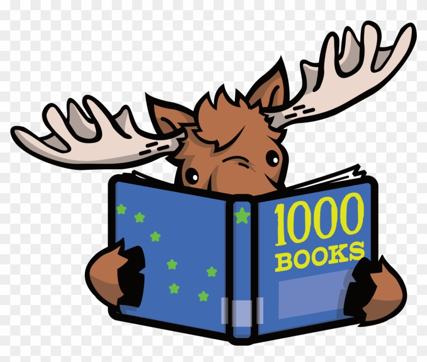Moose Reading A Book Titled 1,000 Books - Moose Reading Book #261238