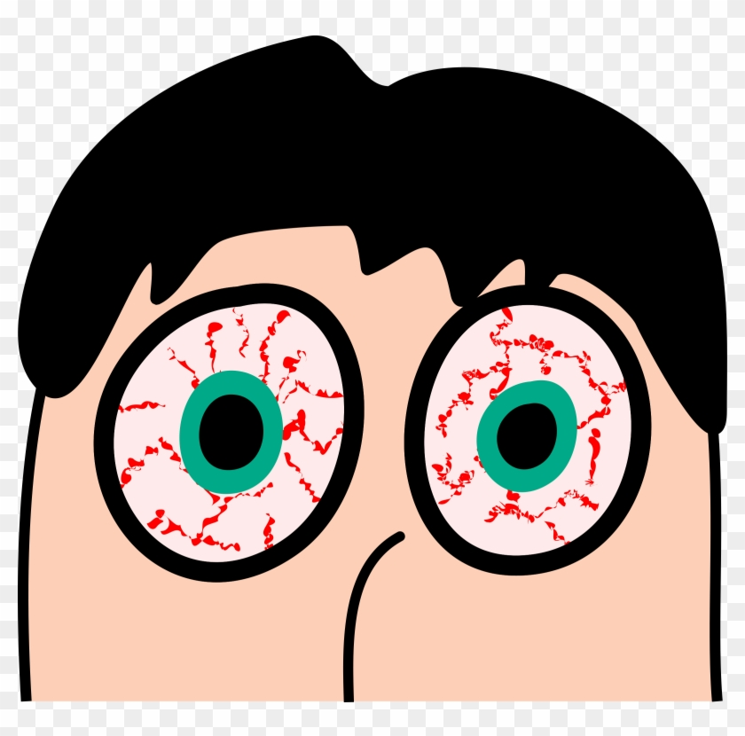 Tired Clipart Sleepless - Cartoon With Red Eyes #261865